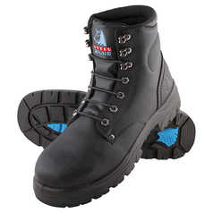 Steel Blue Argyle Lace-Up Safety Boot with Steel Toecap, TPU Outsole and Bump Cap