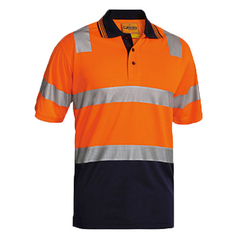 Bisley 2 Tone Hi Vis Short Sleeve Micromesh Polo Shirt with Reflective Tape