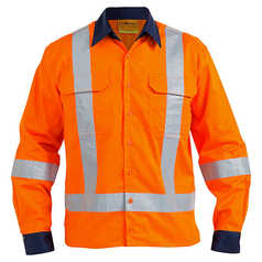 Bisley Mens TTMC-W Cool Light Weight Drill Shirt With Reflective Tape