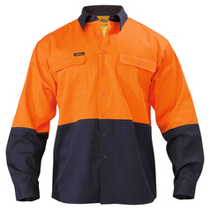 Bisley Hi-Vis Long Sleeve Drill Work Shirt