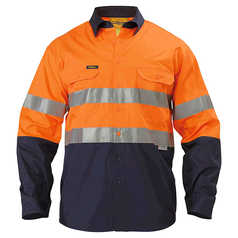 Bisley Hi-Vis Long Sleeve Cool Lightweight Work Shirt with Reflective Tape
