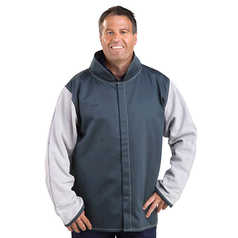 WELD GUARD Fire Retardant Welder's Jacket with Leather Sleeves
